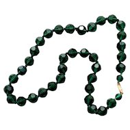 Czech crystal   beads European vintage forest green costume necklace flea market jewelry