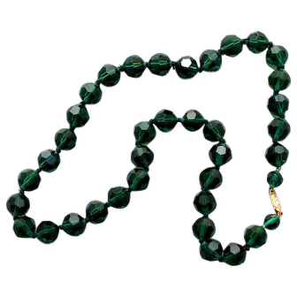 Czech crystal   beads European vintage forest green costume necklace flea market jewelry