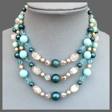 Vintage three strand necklace turquoise glass faux pearls lampwork beads Czech crystals costume jewelry