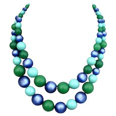 Two strand choker blue turquoise and green color beads vintage necklace flea market old plastic beaded jewelry
