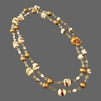Vintage Murano two-tiered necklace pyramid gold-wash white glass beads clear Swarovski crystals white copper golden beads estate fashion jewelry.