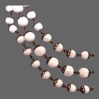 Three strand pearl white old plastic beads in metal lace vintage chain necklace design