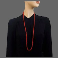 Coral red old glass beads long necklace vintage jewelry