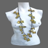 Couture golden leather leaves floral necklace choker statement jewelry design hand pained and crafted