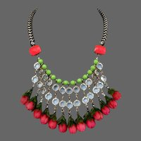 Funky bib necklace vintage plastic roses old glass Czech fire polished beads handmade upscale jewelry design.