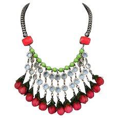 Funky in vogue bib necklace handmade designer roses bead jewelry