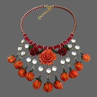 Flowers bib necklace 1950's vintage orange plastic roses red Czech fire polished and bezel set clear Lucite beads black & white handmade braided leather choker upscale jewelry design