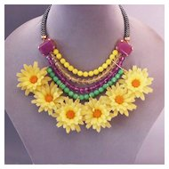 Yellow vintage flowers green violet beads necklace fashion jewelry.