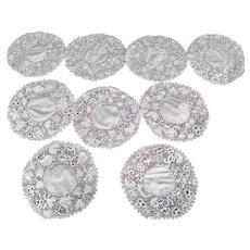 9 White Irish Crochet Needle Lace Rounds Doily