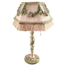 ON HOLD Fabulous Large Barbola Gesso Lamp and Shade