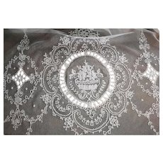 Pair (2) French Tambour Net Lace Panel Curtains