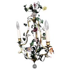 Signed French Bronze Painted Tole Porcelain Flowers Chandelier