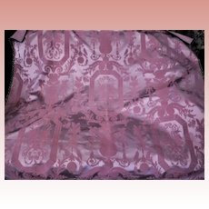 Pink Lavender Damask French Metallic Trim Panel Table Topper 49'' x 43''