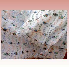 Old Multi Colored Net Lace Fabric