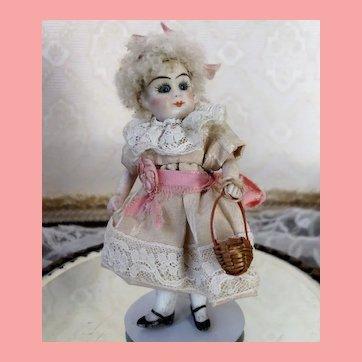 Bisque Mignonette Doll Blue Glass Eyes Swivel Head