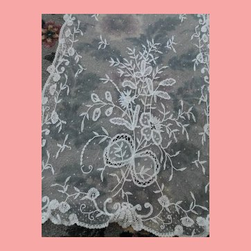 Brussels Princess Lace Scarf or Panel 18 x 112 AS IS