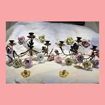 French Gilt Bronze & Ormolu Sconces Porcelain Roses Flowers