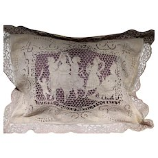 Cream  French Muslin Figural Needle Lace Embroidered Pillow Cover