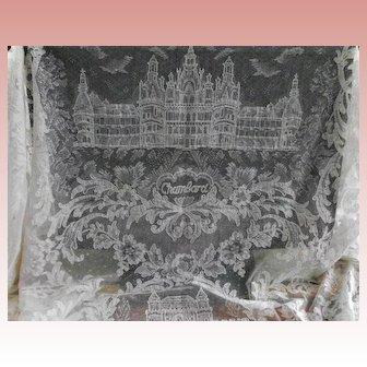 Cream French Alencon Castle Figural Lace  Banquet Tablecloth
