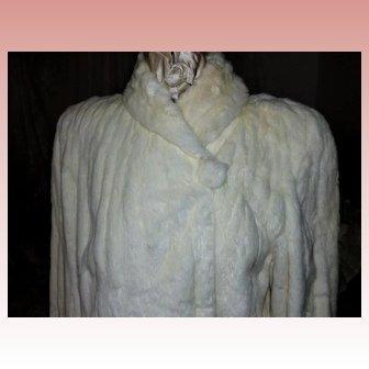 Creamy White Vintage Ermine  Fur Coat 1940's