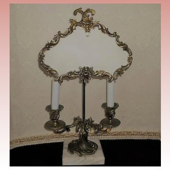 French Gilt Bronze Silk Shield 2 Lite Lamp
