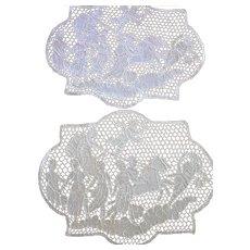 Pair Figural Needle Lace Mats