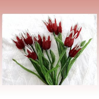 Red French Beaded Flowers Tulips