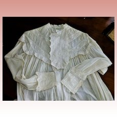 Muslin Cream Whitework Embroidery Night Gown