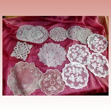 Lot of 13 Round Lace Doily Tambour Crochet Needle Lace
