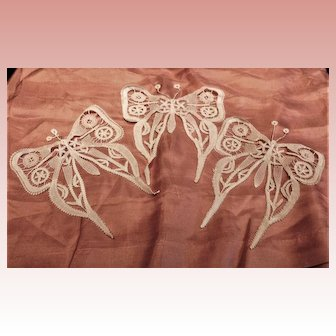3 White Needle Lace Butterflies