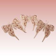 3 White Needle Lace Butterflies