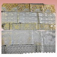 5 French Lace Wide Trims Mostly Ecru