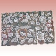 Large Filet Lace Shawl Runner Panel Butterflies and Roses