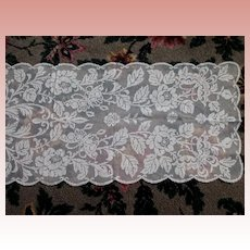 Large Filet Lace Scarf Runner Panel Butterflies and Roses