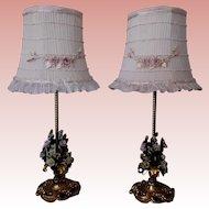 Pair Boudoir Dresser Lamps Porcelain Flowers RIbbon Rosette Lampshades