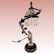 Petite Bronze French Lamp Porcelain Flowers Beaded Shade Kittens
