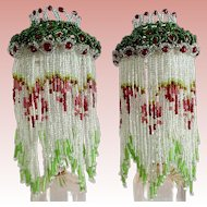 Pair Petite Czech Glass Beaded Lamp Shades Bulb Covers