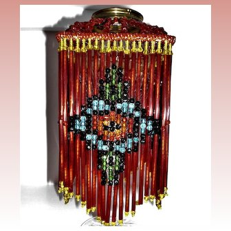 Red Glass Czech Beaded Lamp Shade AS IS