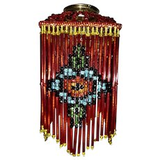 Vintage beaded small lamp shade sold ruby lane red glass czech beaded lamp shade as is aloadofball Choice Image