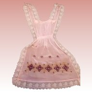 French Pink Silk & Lace Pansy Embroidered Apron