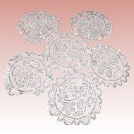 """6 White Tape Needle Lace Round Doily, Pansy, Daisy, Tulips, Flowers 7 """" All Different"""
