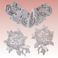 Old Tape Lace Flounce and 2 Appliques for  Sewing Projects