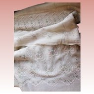 Gorgeous OLD Cream Embroidery Muslin Fabric for Child or Dolls Dress