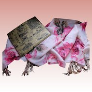 Vintage Lace Scarf with Roses, Original Box