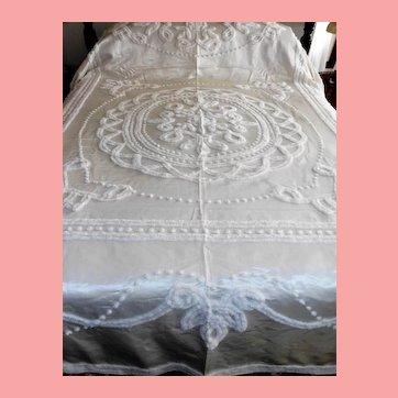 Marie Antoinette  Normandie Cream Satin Chenille Bedspread