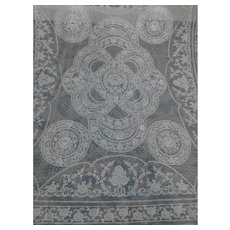 French Normandy Style Embroidered Lace Bed Spread Panel 76'' x 93''