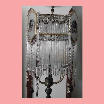 French  Art Deco Ormolu Lamp Shade Straw Prisms