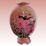 Pink French Opaline Enamel Vase with Flowers and Butterfly