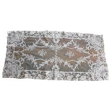 Pale Ecru French Embroidered Net Lace Runner