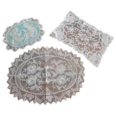 Lot French Embroidery Net Lace Filet Lace Pillow